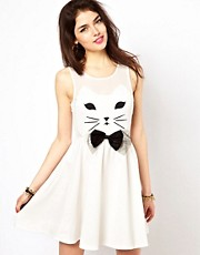 Vestido skater con estampado de rostro de gato de Reverse