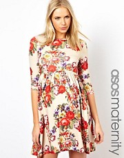 ASOS Maternity Skater Dress With Slash Neck in Tapestry Floral