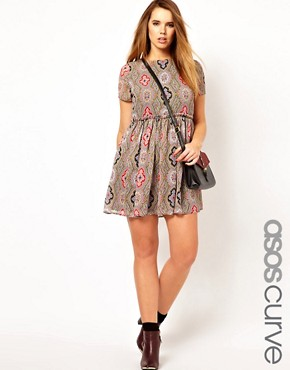 Image 1 ofASOS CURVE Skater Dress in Paisley Print