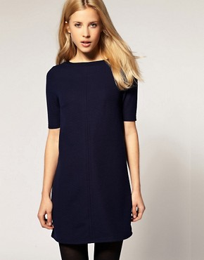 Image 1 ofRiver Island Textured 3/4 Sleeve Shift Dress