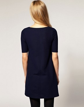 Image 2 ofRiver Island Textured 3/4 Sleeve Shift Dress