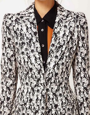 Image 3 ofPeter Jensen Tuxedo Blazer In Jazz Club Print