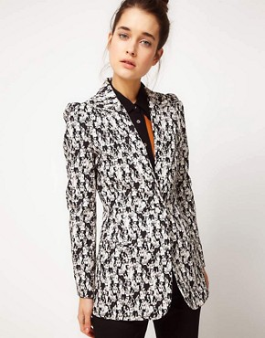 Image 1 ofPeter Jensen Tuxedo Blazer In Jazz Club Print