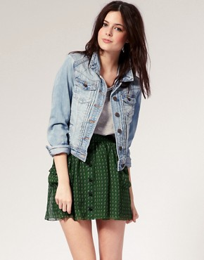 Image 1 ofRiver Island Pleat Front Denim Western Jacket