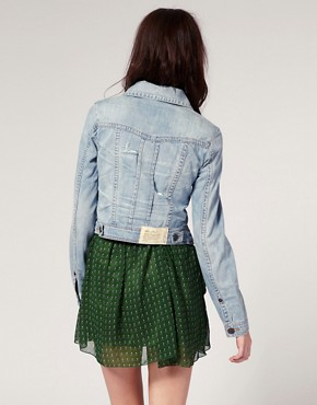 Image 2 ofRiver Island Pleat Front Denim Western Jacket
