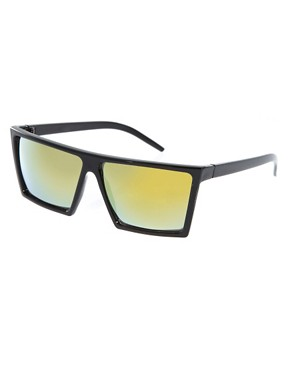 Image 1 ofASOS Sunglasses with Flat Brow and Coloured Mirror Lens