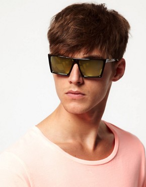 Image 3 ofASOS Sunglasses with Flat Brow and Coloured Mirror Lens