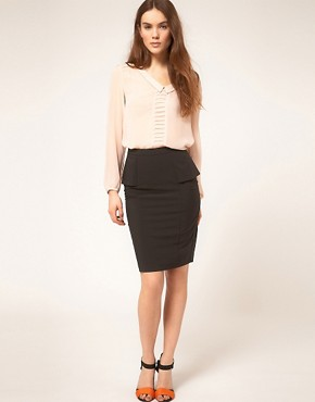 Image 1 ofASOS Smart Pencil Skirt With Peplum