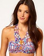 Image 1 ofASOS Paisley Embellished Longline Bikini Top