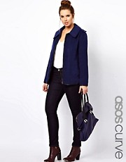 ASOS CURVE Exclusive Coat With Leather Look Trim