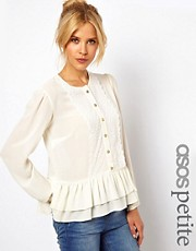 ASOS PETITE Exclusive Peplum Blouse With Crochet Trim