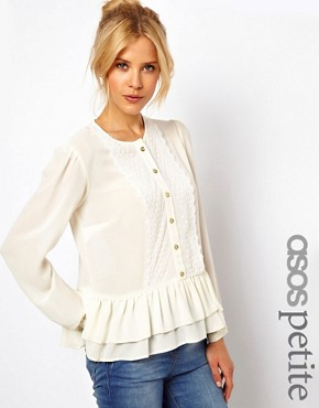 Image 1 ofASOS PETITE Exclusive Peplum Blouse With Crochet Trim