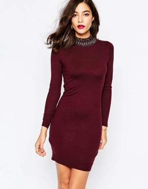 Warehouse Premium Diamonte Collar Dress