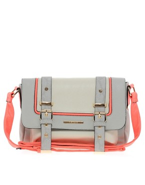 Image 1 ofRiver Island Grey Neon Trim Satchel