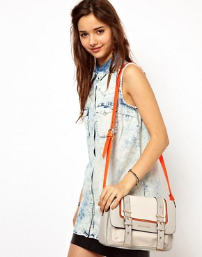 Image 3 ofRiver Island Grey Neon Trim Satchel