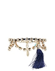 Orelia Diamante Double Row Bracelet with Tassel