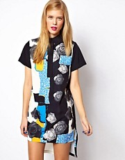 ASOS Shirt Dress In Abstract Rose Print