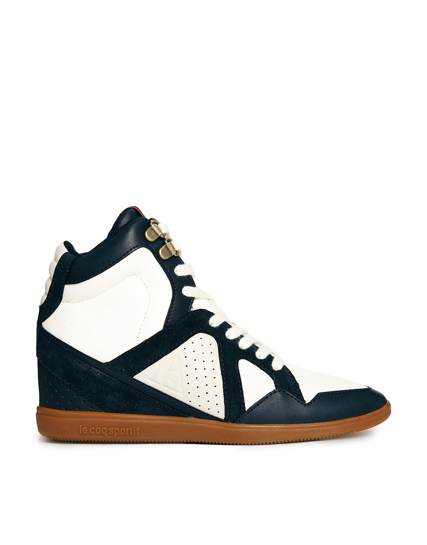 Le Coq Sportif Leather Wedge High Top Trainers - Multi