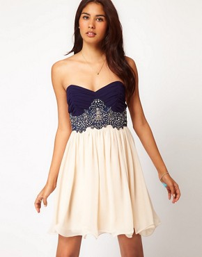 Image 1 ofLittle Mistress Lace Bustier Prom Dress