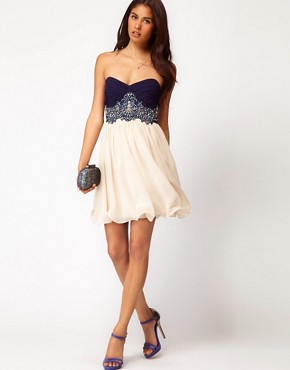 Image 4 ofLittle Mistress Lace Bustier Prom Dress