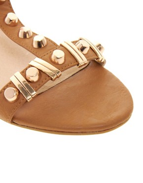 Image 2 ofDune Funkie Tan Mid Heeled Sandals