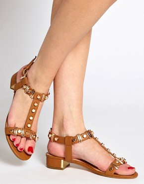 Image 3 ofDune Funkie Tan Mid Heeled Sandals