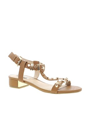 Image 1 ofDune Funkie Tan Mid Heeled Sandals