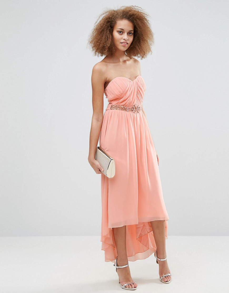 Little Mistress Pleated Bandeau Maxi Dress - Peach