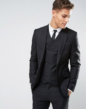 ASOS Slim Suit Jacket in Black 100% Wool