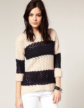 Image 1 ofRiver Island Stripe Slouchy Jumper