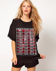 ASOS T-Shirt With Check Sequin Panel