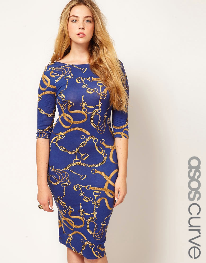 Vestido ajustado con estampado de cadenas de ASOS CURVE
