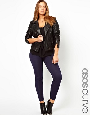 Image 1 ofASOS CURVE Exclusive Legging In Denim Look