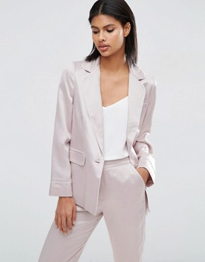 ASOS Soft Satin Pyjama Jacket With Piping