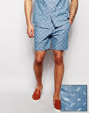 ASOS Chino Shorts With Denim Hieroglyphics Ditsy Print Co-Ord