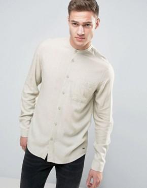 Длинная рубашка классического кроя с добавлением льна и воротником на