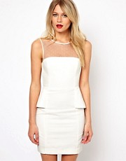 Mango Structured Pencil Dress With Mesh Back