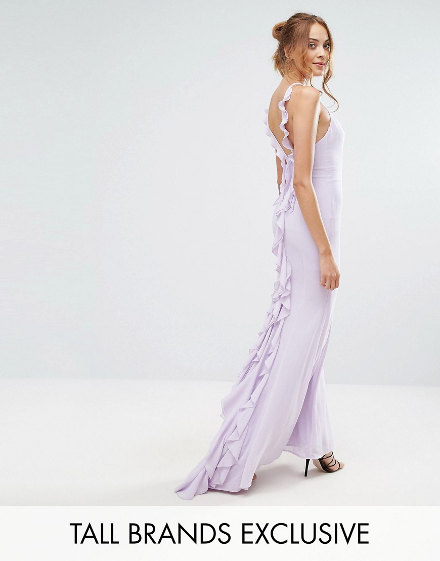 Jarlo Tall Maxi Dress With Ruffle Back Detail - Mauve