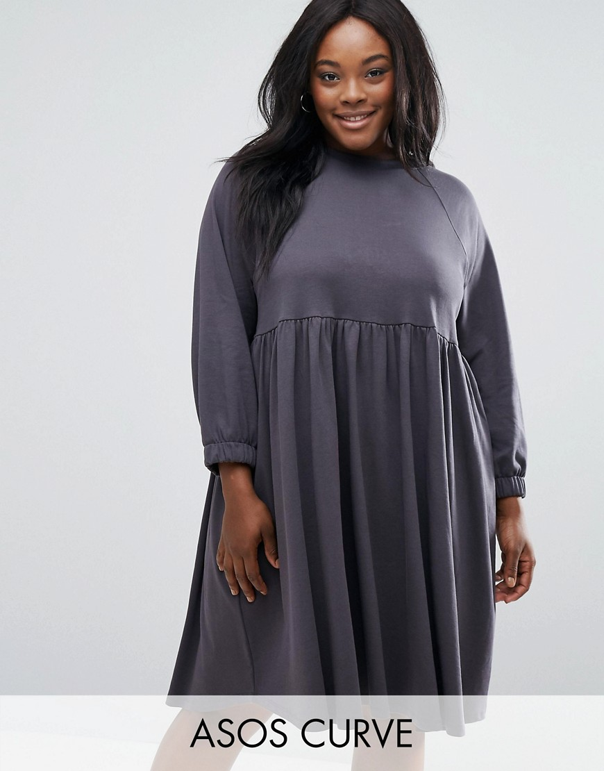 ASOS CURVE Cotton Smock Dress with Elastic Cuff Detail - Gray