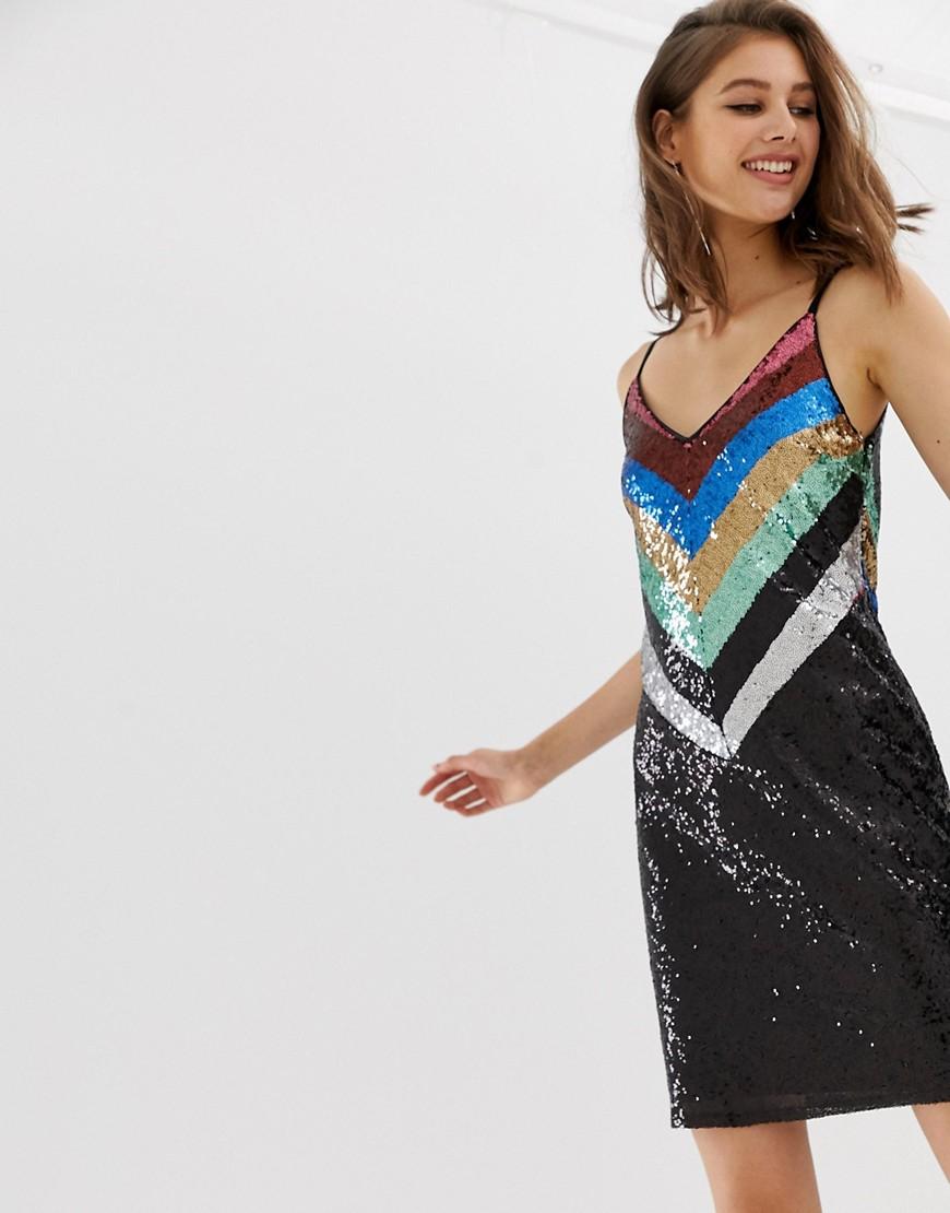 warehouse - Trägerkleid mit Pailletten und Sparrenmuster in Regenbogenfarben - Mehrfarbig