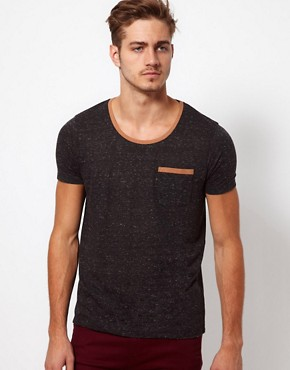Image 1 ofASOS T-Shirt In Speckle Jersey With Contrast Pocket