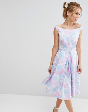 ASOS SALON Beautiful Jacquard Prom Midi Dress