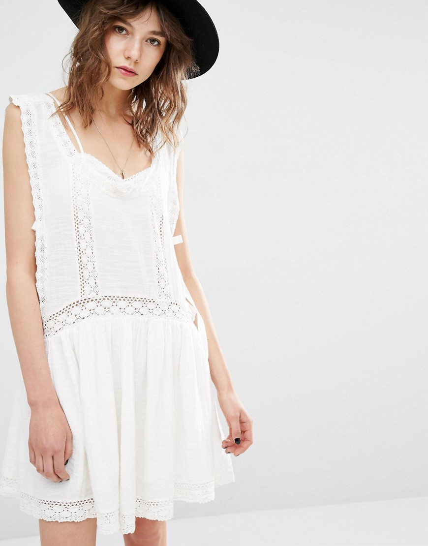 Mango Drop Hem Embroidered Smock Dress - White