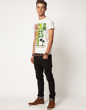 Image 4 ofJack &amp; Jones Intelligence Palm T-Shirt