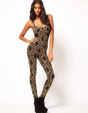 Image 1 ofASOS Unitard with Baroque Glitter Print