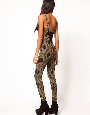 Image 2 ofASOS Unitard with Baroque Glitter Print