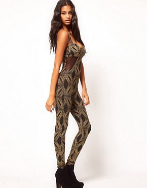 Image 4 ofASOS Unitard with Baroque Glitter Print