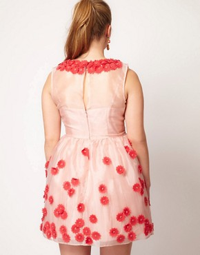 Image 2 ofASOS CURVE Premium Dress With Applique Flower Tulip