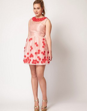 Image 4 ofASOS CURVE Premium Dress With Applique Flower Tulip