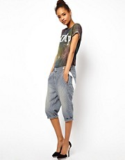 ASOS Cropped Denim Pants with Braces in Ticking Stripe